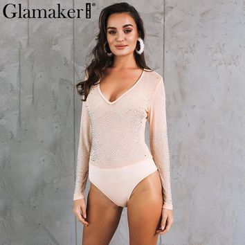 Glamaker Mesh hot drilling sexy bodysuit Women sexy v neck transparent jumpsuit romper Femme party club cool black overalls