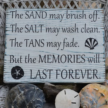 New The Sand May Brush Off....Beach Decor Wood Sign, Hand Painted, Distressed, Weathered, Coastal Decor, Nautical