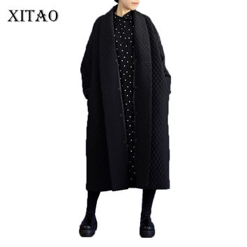 2016 New Winter Europeanwind Black Temperament Super Loose Long Form Single Breasted & Pockets Decoration Female Trench VMA-001