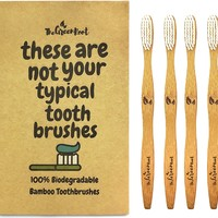 Bamboo Toothbrush W/ 15 Degree Angle & Soft BPA Free Nylon Bristles - 100% Organic and Biodegradable Wooden Toothbrush For Adults - Pack...