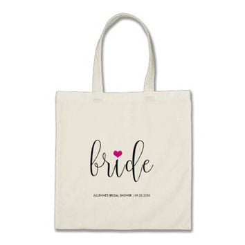 "Hot Pink ""Bride"" Bridal Shower Tote"