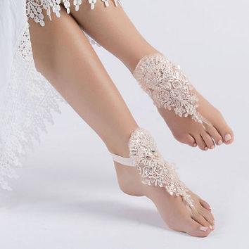 Blush Lace Barefoot Sandals, Bridal Pool party, Bridal Lace Shoes, Beach wedding Barefoot Sandals, Wedding Shoes, Bridesmaid Sandals
