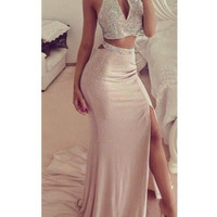 Two Piece Halter Beading Sheath Prom Dresses
