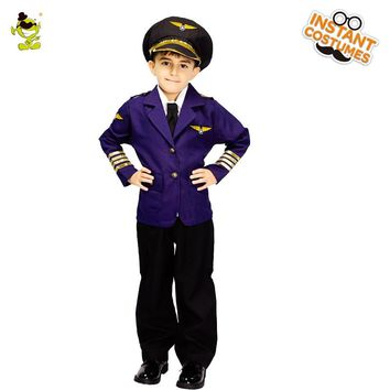 2018 New Child blue airline pilot Costumes Kids High Quality Suit With Hat Cosplay Uniform for Carnival Party Fancy Costumes