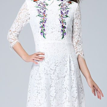 White Collar Floral Embroidery Lace Dress