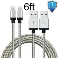 Atill 2 Pack 10ft Extra Long Nylon Braided USB Cord Charging Cable For iPhone 6s,6s plus, 6 Plus, 6, iPhone 5 ,5C ,5S, iPad Air, Mini , Mini2, iPad 4, iPod 5,and iPod 7. (White,10FT)
