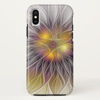 Luminous Colorful Flower, Abstract Modern Fractal iPhone X Case