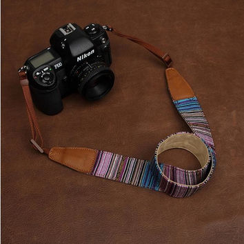 Stripe Handmade Leather Camera Strap Bohemia Style Holiday 7220