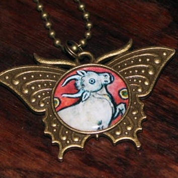 Cyclops Necklace, One Eyed Bull, Medieval Bestiary, Mythology Jewelry, Illuminated Manuscripts, Creature, Oddities, Bronze Butterfly Pendant