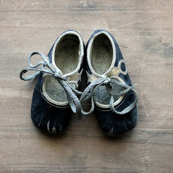 Baby Steps - Antique Black and White Leather Baby Shoes - Rustic - Vintage - Home Decor - Geometric - Photo Prop