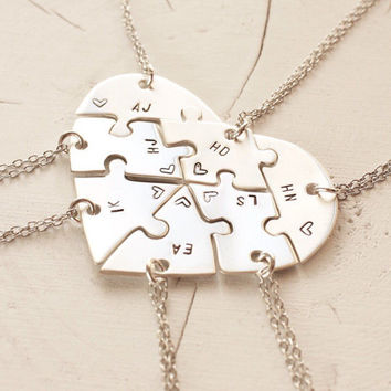 Hand engraved heart puzzle necklaces, shaped like a heart - perfect for 7 people, friendship, family, BFF, seven puzzles, jigsaw, 7 pieces