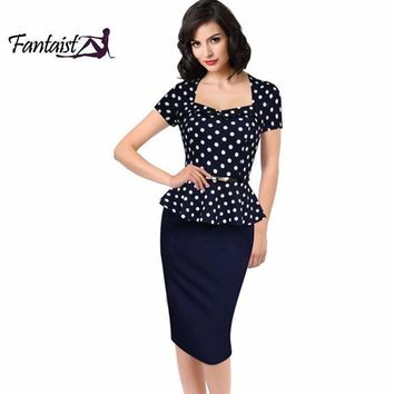 Fantaist 2016 Summer Women Vintage FakeTwo Piece Polka Dot Peplum Office Plus Size Dress Elegant Party Fitted Pencil Work Dress