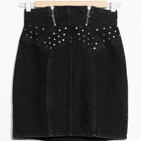 & Other Stories | Stud Detail Denim Skirt | Black