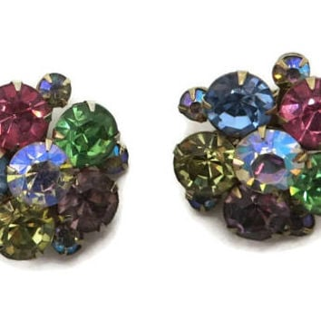 Weiss Pastel Rhinestone Earrings Vintage Estate Multi-Color Flower Clip on Earrings