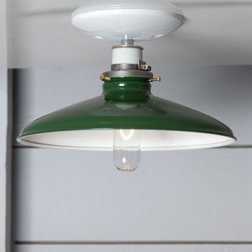 Industrial Metal Shade Light - 10in Green Shade Lamp - Semi Flush Mount