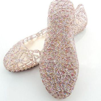 Women New Crystal Glitter Plastic Jelly Hollowed Flat Ballet Sandals Beach Shoes