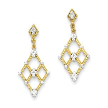 14k Yellow Gold Rhodium Plated Diamond Cut Marquise Post Dangle Earrings