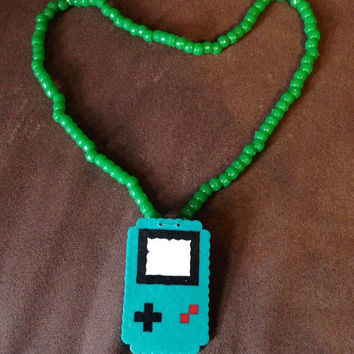 Any Color Green Nintendo Gameboy 3D Perler Kandi Necklace