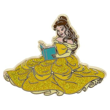 Disney Parks Princess Belle Glitter Pin New with Card