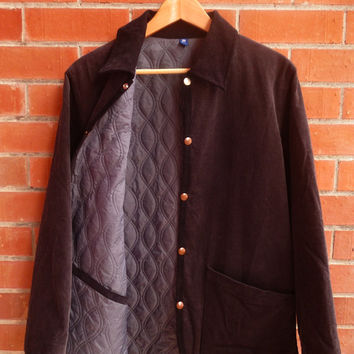 Mens R Newbold PAUL SMITH Corduroy Denim Puffy Warm Bomber Mods Casual Button Brown Jacket