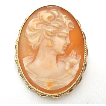 14K Gold Carved Shell Cameo Victorian Pendant Brooch