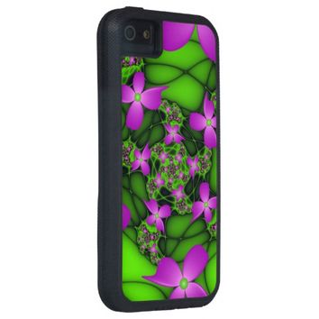 Modern Abstract Neon Pink Green Fractal Flowers iPhone SE/5/5s Case