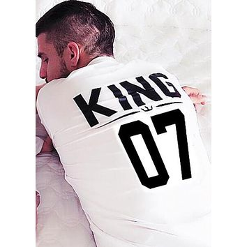 BKLD 100% Cotton Matching T shirt King 07 Queen 07 Prince Princess Letter Print Shirts,Casual Men/Women Lovers Tops