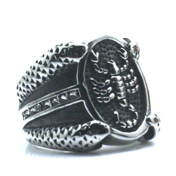 Newest Unisex 316L Stainless Steel Silver Clean Stone Scorpion Punk Gothic Ring