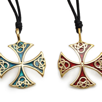 Celtic Cross Handmade Brass Necklace Pendant Jewelry