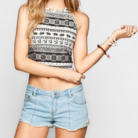 Full Tilt Boho Elephant Womens Halter Crop Top Multi  In Sizes