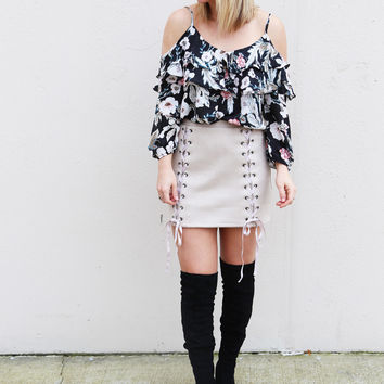 Zip Your Lips Suede Skirt {Taupe}