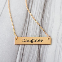 Daughter Gold / Silver Bar Necklace