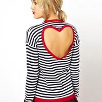 ASOS Jumper In Stripe With Heart Cut Out Back at asos.com