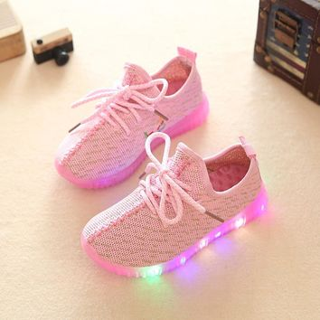 davidyue Kids luminous shoes with LED flush yeezy Shoes Baby Toddler Shoes Girls Boys Sports Shoes Kids LED Light Sneakers