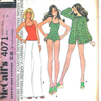 Vintage Swimsuit & Cover Up Uncut Pattern: Size 12, Bust 34, McCall's Sewing Pattern 4071
