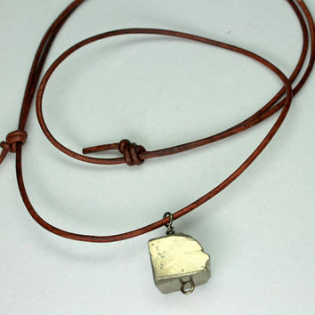 Pyrite Necklace, Tan Leather, Minimalist Necklace, Leather Choker, Pyrite Choker