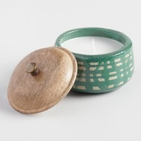 Aqua Geometric Spring Rain Terracotta Filled Candle