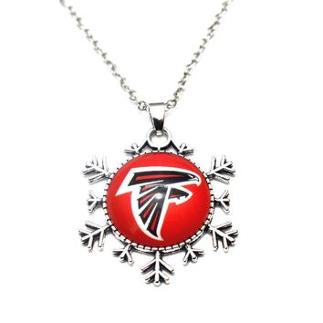 1pcs Christmas Snowflake Football Team Atlanta Falcons Glass Pendant Necklace Silver Chains Necklace For Women Necklace Jewelry