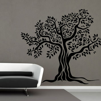 I201 Wall Decal Vinyl Sticker Art Decor Design tree leaves nature oak roots eternity courtyard garden family picnic Living Room Bedroom