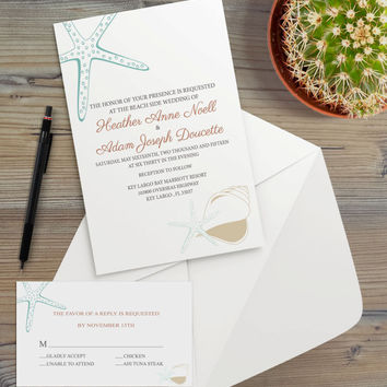 Instant Download - Seashell Starfish Coastal Beach Wedding Bridal Shower Birthday Party Nautical Aqua Blue Sand Invitation RSVP Template