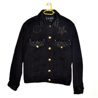 Vintage LAUREL Black Denim Jacket w/ Gold Details 80s 90s Womens Oversized Medium M Large L