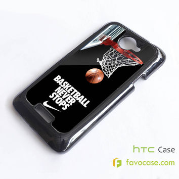 BASKETBALL NEVER STOPS Nike NBA HTC One X, M7, M8 Phone Case Cover