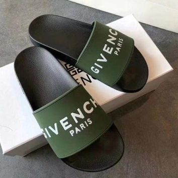 Givenchy Trending Woman Men Simple Summer Beach Slipper Sandals Shoes Green
