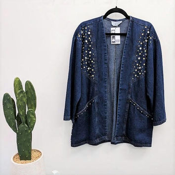Vintage Denim Studded Jacket Blue Jean Jacket Bedazzled Jacket Dark Blue Denim Gold Studs Slouchy Cardigan Open Front Layering L/XL