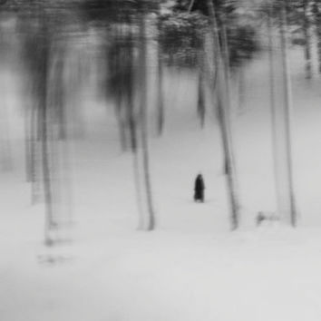 Modern Conceptual Fine Art Photography Print - Black and White Poem - Gift for Him for Her for Friend - Step Inside One Winter Dream
