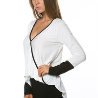 Contrast Trim Surplice Top