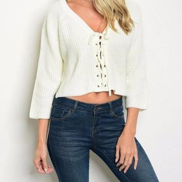 Lace Up Knitted Cropped Sweater