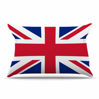 """Bruce Stanfield """"Classic Union Jack"""" Blue Red Pillow Sham"""
