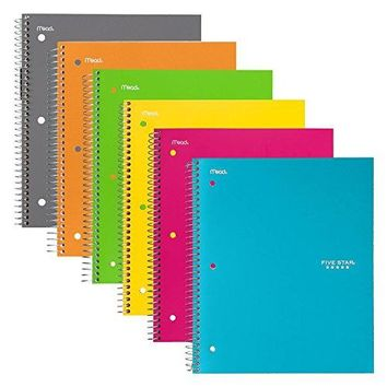 """Five Star Spiral Notebook, 1 Subject, College Ruled Paper, 100 Sheets, 11"""" x 8-1/2"""", Assorted Colors, 6 Pack (38057)"""