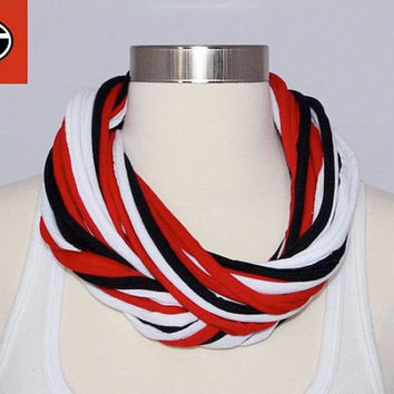 UGA Bulldogs/ Atlanta Falcons T-shirt Infinity Scarf - Red, Black & White Mix